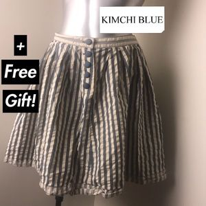 (KIMCHI BLUE) Blue/Offwhite Stripped Cotton Skirt